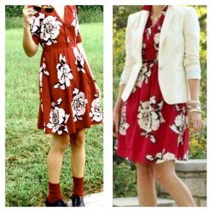 Anthro Maeve Red Dagmar Floral Shirt Dress